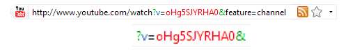 Image showing the video ID location in a youtube hyperlink. This variable is named lower case 'v' and extends after the following equal sign to the nearest ampersand, hash or end of line.